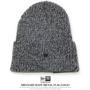 NEW ERA ニューエラ ニットキャップ ミリタリーニット メタルフラッグロゴ グレー/ブラック 11781045