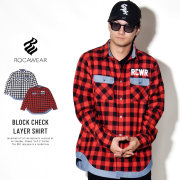 ROCAWEAR ロカウェア 長袖シャツ BLOCK CHECK LAYER SHIRT RW183W04