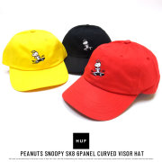 HUF ハフ カーブバイザーキャップ PEANUTS SNOOPY SK8 6PANEL CURVED VISOR HAT HT00338