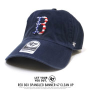 47BRAND フォーティーセブンブランド カーブバイザーキャップ RED SOX SPANGLED BANNER 47 CLEAN UP B-SPGBN02GWS-NYC