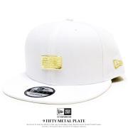 NEW ERA ニューエラ フラットバイザーキャップ 9FIFTY メタルプレート ホワイト × ゴールド 11901190