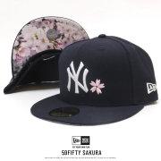 NEW ERA ニューエラ フラットバイザーキャップ 59FIFTY 桜 ニューヨーク・ヤンキース ネイビー × ホワイト 12019013