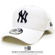 NEW ERA ニューエラ カーブバイザーキャップ 9FORTY A-Frame ウォッシュドコットン ニューヨーク・ヤンキース ホワイト × ミッドナイトネイビー 11901221