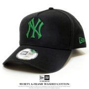 NEW ERA ニューエラ カーブバイザーキャップ 9FORTY A-Frame ウォッシュドコットン ニューヨーク・ヤンキース ブラック × シャムロック 11901224