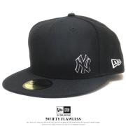 NEW ERA ニューエラ フラットバイザーキャップ 59FIFTY ニューヨーク・ヤンキース フローレス ブラック × ホワイト 12028786