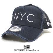 NEW ERA ニューエラ カーブバイザーキャップ 9FORTY A-Frame トラッカー ダメージ NYC ネイビー × スノーホワイト 12048719