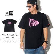 NEW ERA ニューエラ 半袖Tシャツ コットンTシャツ ネオンフラッグロゴ ブラック 12108186