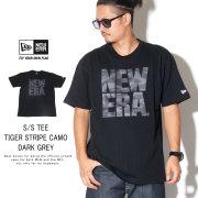 NEW ERA ニューエラ 半袖Tシャツ コットン Tシャツ タイガーストライプカモグレー スクエア ニューエラ ブラック 12108180