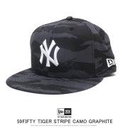 NEW ERA ニューエラ フラットバイザーキャップ 59FIFTY ニューヨーク・ヤンキース タイガーストライプカモグラファイト ダークグレー × スノーホワイト 12109073