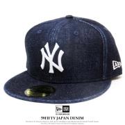 NEW ERA ニューエラ フラットバイザーキャップ 59FIFTY ジャパンデニム ニューヨーク・ヤンキース ウォッシュドデニム × スノーホワイト 12109090