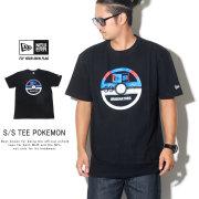 NEW ERA ニューエラ 半袖Tシャツ コットン Tシャツ ポケモン スーパーボール バイザーステッカー ブラック 12110829