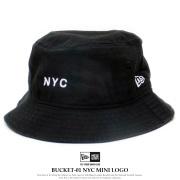 NEW ERA ニューエラ バケットハット バケット01 NYC ミニロゴ ブラック 12119314