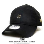 NEW ERA ニューエラ カーブバイザーキャップ 9THIRTY クロスストラップ メタルロゴ ニューヨーク・ヤンキース ブラック/ゴールド 12119366