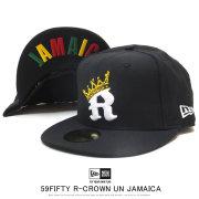 NEW ERA ニューエラ フラットバイザーキャップ 59FIFTY R-クラウン ブラック × ホワイト/ゴールド ラスタカラー JAMAICA 12119378