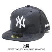 NEW ERA ニューエラ フラットバイザーキャップ 59FIFTY ニューヨーク・ヤンキース ウッドランドカモ ミッドナイト × ホワイト 12121376