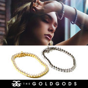 THE GOLD GODS ザ・ゴールドゴッズ ブレスレット 18金コーティング 4mm ブリンブリン ストリート系 ヒップホップ ファッション 3PRONGEDB-4MM GGAT006