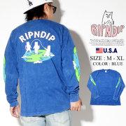 RIPNDIP リップンディップ 長袖Tシャツ ロンT メンズ 猫 ネコ 地球 ストリート系 ファッション Flat L/S 服 通販