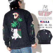 RIPNDIP リップンディップ 長袖Tシャツ ロンT メンズ 猫 ネコ マリファナ 大麻 ストリート系 ファッション Herb Eater L/S 服 通販