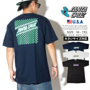 Santa Cruz サンタクルーズ Tシャツ 半袖 メンズ 大きいサイズ バックプリント チェック柄 スケーター スケボー ストリート系 スケートファッション 44154357 服 通販