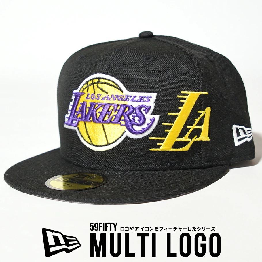 ニューエラ キャップ 帽子 メンズ NEW ERA 59FIFTY ロサンゼルス・レイカーズ マルチロゴ ブラック 12653883