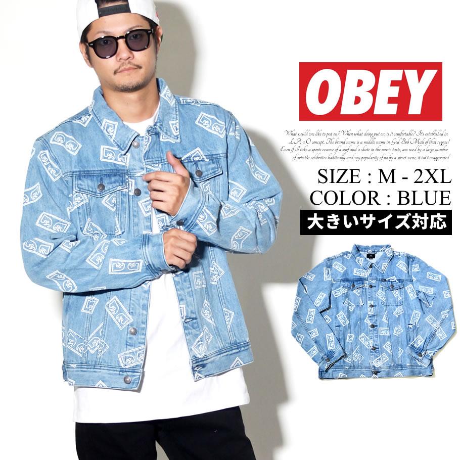 OBEY オベイ デニムジャケット メンズ Gジャン 総柄 ストリート系 ファッション 服 通販 121800354 OBJT001
