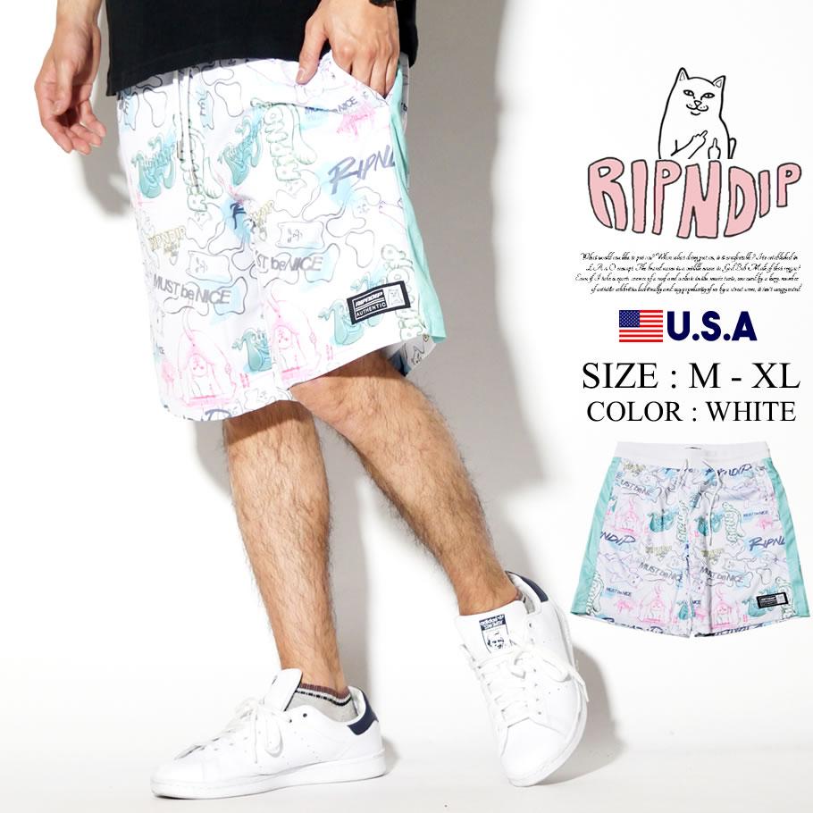 RIPNDIP リップンディップ ハーフパンツ メンズ サイドライン 総柄 ストリート系 ファッション Goalaso Nylon Soccer Shorts 服 通販