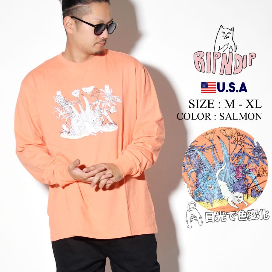 ripndip リップンディップ ロンT 長袖Tシャツ メンズ 猫 ネコ 草むら ストリート系 ファッション RND3751 服 通販