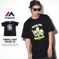 MAJESTIC マジェスティック 半袖Tシャツ メンズ ミニオンズ コラボ MINIONS×MIAMI MARLINS TEE (MM01-MIA-8S900MN)