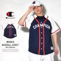 CHAMPION チャンピオン ベースボールシャツ BRAIDED BASEBALL JERSEY インペリアルインディゴ/ホワイト (T0897P)