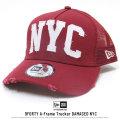 NEW ERA ニューエラ メッシュキャップ 9FORTY Aフレームトラッカー ダメージド NYC アーチロゴ カーディナル×ホワイト 11781443