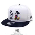 NEW ERA ニューエラ コラボ フラットバイザーキャップ 9FIFTY ディズニー ミッキーマウス 90周年 ダブル ホワイト ブラックバイザー 11781395