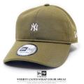 NEW ERA ニューエラ カーブバイザーキャップ 9THIRTY カラースウェット ニューヨーク・ヤンキース ミニロゴ オリーブ×スノーホワイト 11781539