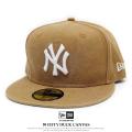 NEW ERA ニューエラ フラットバイザーキャップ 59FIFTY ダックキャンバス ニューヨーク・ヤンキース ウォッシュドタン×スノーホワイト 11781666