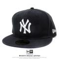 NEW ERA ニューエラ フラットバイザーキャップ 59FIFTY ダックキャンバス ニューヨーク・ヤンキース ウォッシュドブラック×スノーホワイト 11781667