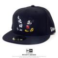 NEW ERA ニューエラ コラボ フラットバイザーキャップ 59FIFTY ディズニー ミッキーマウス 90周年 ダブル ブラック 11781709