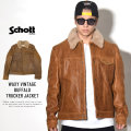 SCHOTT ショット レザージャケット WAXY VINTAGE BUFFALO TRUCKER JACKET WITH SHEEP SKIN COLLAR 545