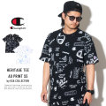 CHAMPION チャンピオン 半袖Tシャツ HERITAGE TEE ALL OVER PRINT SCRIBBLE SCRIPT T1919S