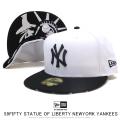 NEW ERA ニューエラ フラットバイザーキャップ 59FIFTY スタチューオブリバティ ニューヨーク・ヤンキース オプティックホワイト × ブラック 12154558
