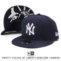 NEW ERA ニューエラ フラットバイザーキャップ 59FIFTY スタチューオブリバティ ニューヨーク・ヤンキース ネイビー × スノーホワイト 12154559