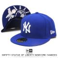NEW ERA ニューエラ フラットバイザーキャップ 59FIFTY スタチューオブリバティ ニューヨーク・ヤンキース ライトロイヤル × スノーホワイト 12154560