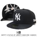 NEW ERA ニューエラ フラットバイザーキャップ 59FIFTY スタチューオブリバティ ニューヨーク・ヤンキース ブラック × スノーホワイト 12154562