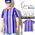 KARL KANI カールカナイ 半袖Tシャツ メンズ 大きいサイズ ストライプ柄 HIPHOP ヒップホップ b系 ファッション KK222 KATT009