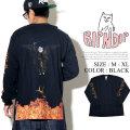 RIPNDIP リップンディップ ロンT 長袖Tシャツ メンズ バックプリント 猫 ネコ 炎 剣士 ストリート系 スケーター ファッション 服 通販 RDPT026