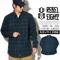 REBEL8 レベルエイト チェックシャツ メンズ 長袖 ストリート系 スケーター グラフィック ファッション 11202008 服 通販 REOT023