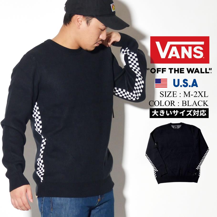 VANS バンズ セーター メンズ チェッカー ロゴ スケーター ストリート系 ファッション 服 通販