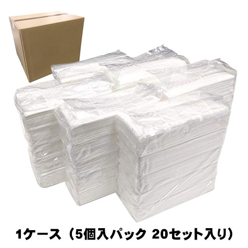 【ケース販売】フィルム包装 パルプ100% ティッシュペーパー 5個入り 20パックセット 日本製(静岡県富士市)