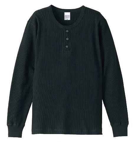 【UnitedAthle】5.6オンス ワッフル ヘンリーネック ロングスリーブ Tシャツ [5489]
