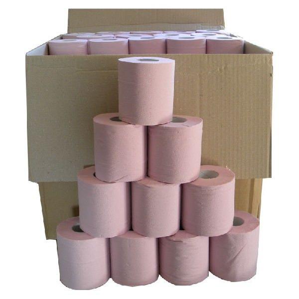 【送料別/訳あり】 (巾105mm以上/約27.5mm巻き)  アウトレット トイレットペーパー ダブル 100個セット (パステルカラー)