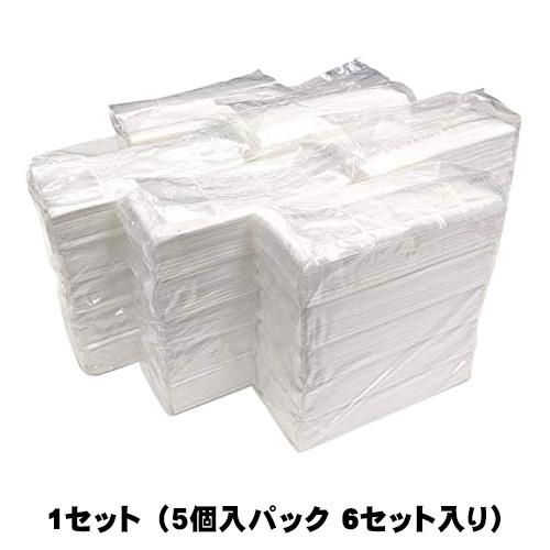 フィルム包装 パルプ100% ティッシュペーパー 5個入り 6パックセット