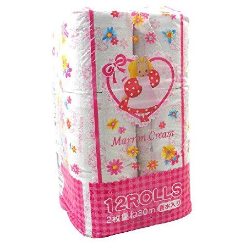 【送料別】 プリント トイレットペーパー 2枚重ね 12Rパック Marron Cream